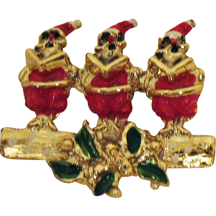 Vintage Singing Santa Claus Christmas Brooch