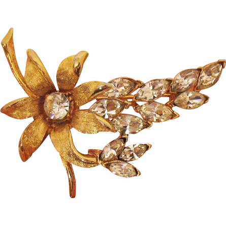 Big Gorgeous Vintage Navette Rhinestone Flower Brooch