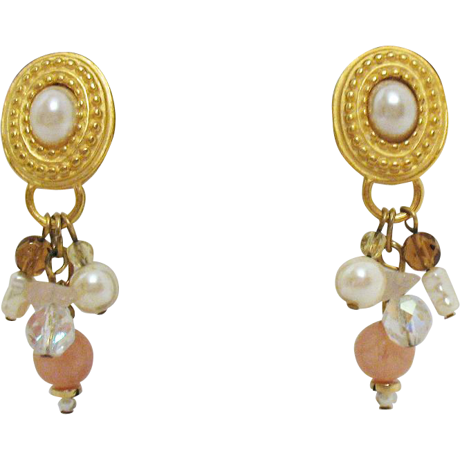 Gorgeous Vintage Dangle Beaded Pierced Earrings