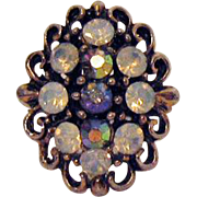 Beautiful Vintage Costume Jewelry Rhinestone Ring