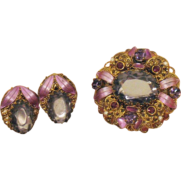 Stunning Vintage Signed W Germany Enameled Lavender Rhinestone Brooch Earrings Set