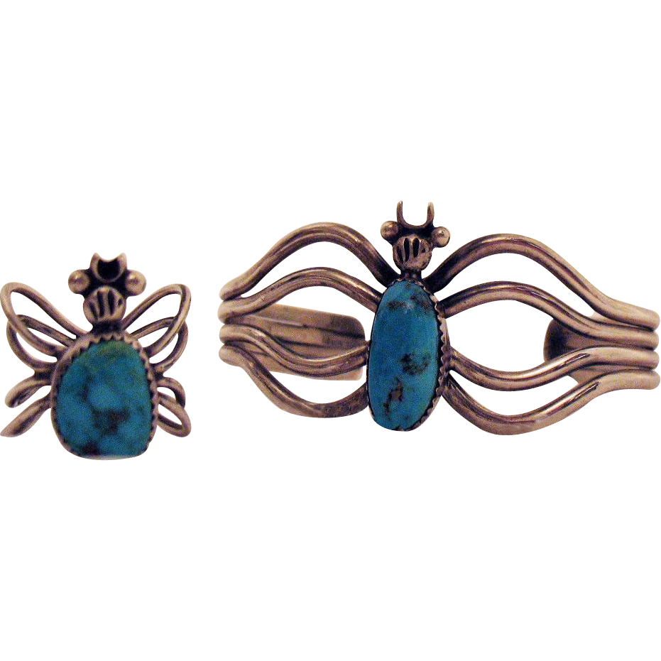 Unusual Vintage Sterling Silver Turquoise Bug Cuff Bracelet Ring Set