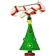 Vintage Metal Enameled Christmas Tree Candy Cane Brooch
