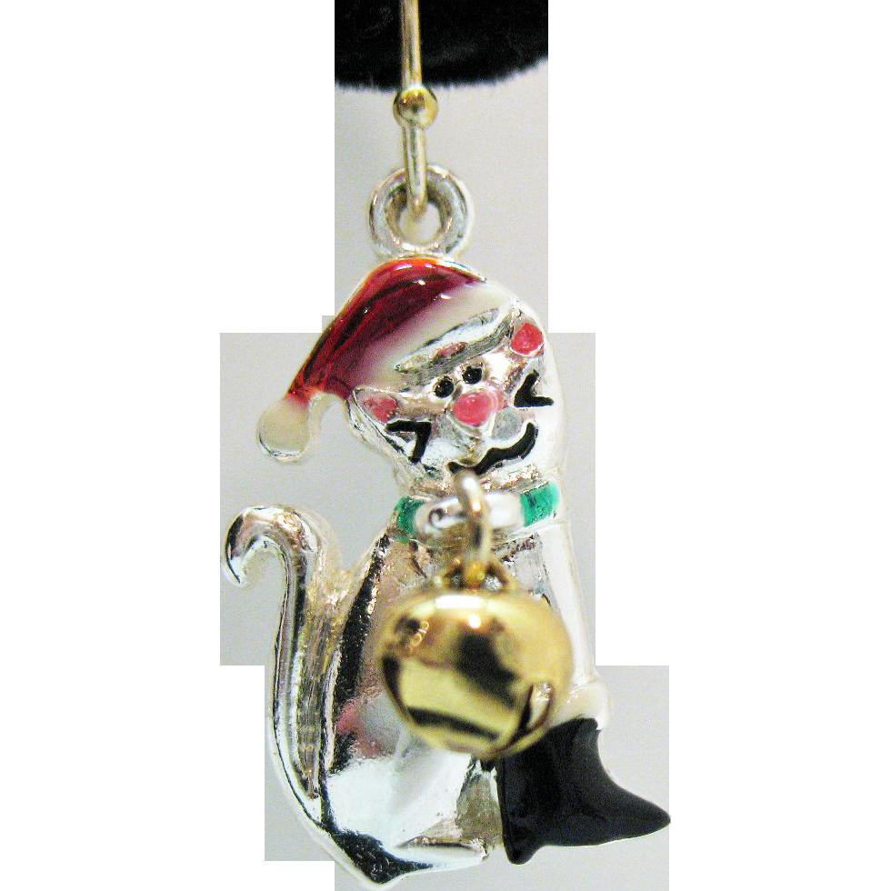 Darling Vintage Christmas Kitty Cat Pierced Earrings