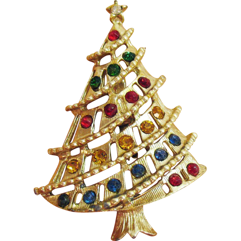 Beautiful Vintage Abstract Rhinestone Golden Christmas Tree Brooch