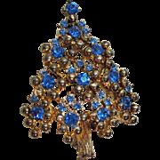 Vintage Signed Eisenberg Rhinestone Christmas Tree Brooch
