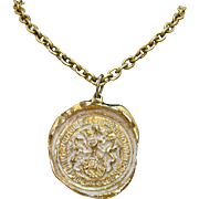Unusual Vintage Signed Robert Zentall Etruscan Pendant Necklace