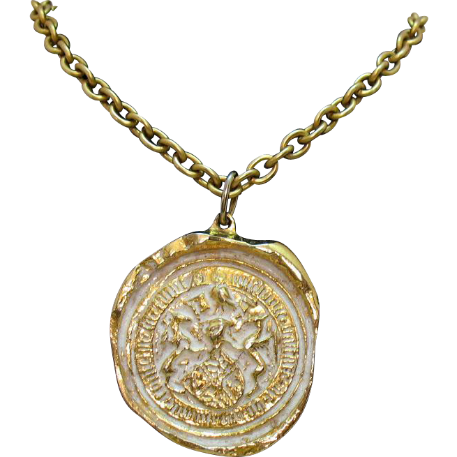 50% OFF Unusual Vintage Signed Robert Zentall Old World Etruscan Pendant Necklace