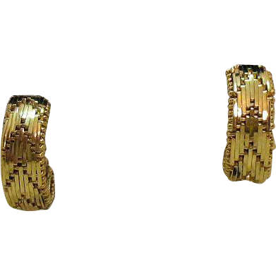Awesome Vintage Signed Napier Golden Woven Screw Back Hoop Earring
