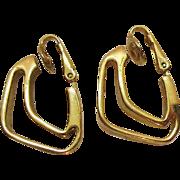 Signed Crown Trifari Vintage Abstract Hoop Clip Earrings