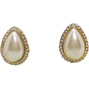 50% OFF Stunning Vintage Signed Hobe Faux Pearl Clip Earrings