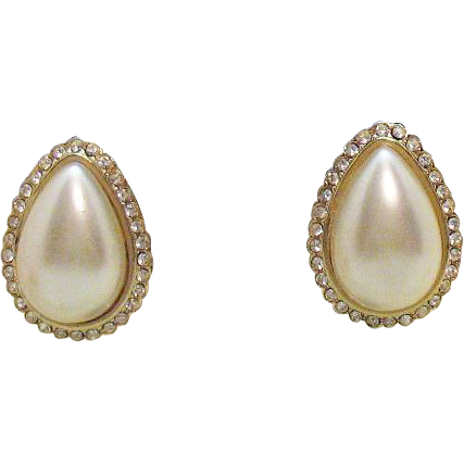 Stunning Vintage Signed Hobe Faux Pearl Clip Earrings