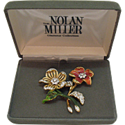 50% OFF Signed Nolan Miller Glamour Collection Vintage Brooch Set Original Box 1980s