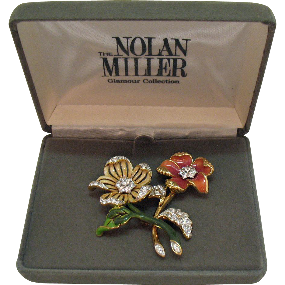 Signed Nolan Miller Glamour Collection Vintage Brooch Set~Original Box~1980s