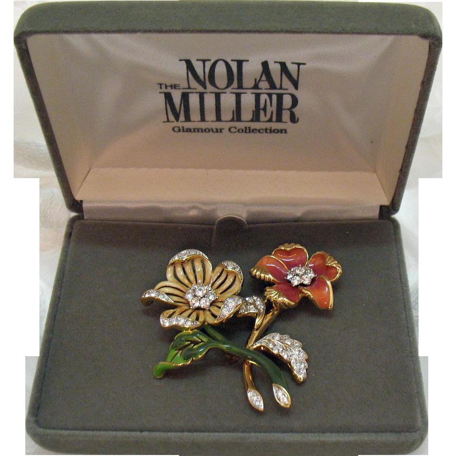 50% OFF Signed Nolan Miller Glamour Collection Vintage Brooch Set Original Box 1980s