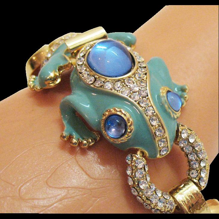 Vintage Enameled Rhinestone High End Costume Jewelry Frog ...