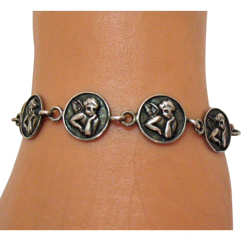 Awesome Vintage Sterling Silver Repoussé Angel Bracelet