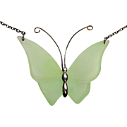 Unusual Vintage Transparent Green Glass Butterfly Lavalier Necklace