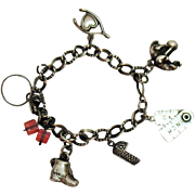 50% Off Awesome Vintage 1940s Sterling Silver Charm Bracelet
