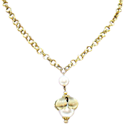 Unusual Vintage Large Faux Pearl Pendant Necklace