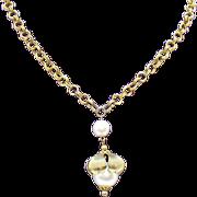 Unusual Vintage Large Faux Pearl Pendant Necklace
