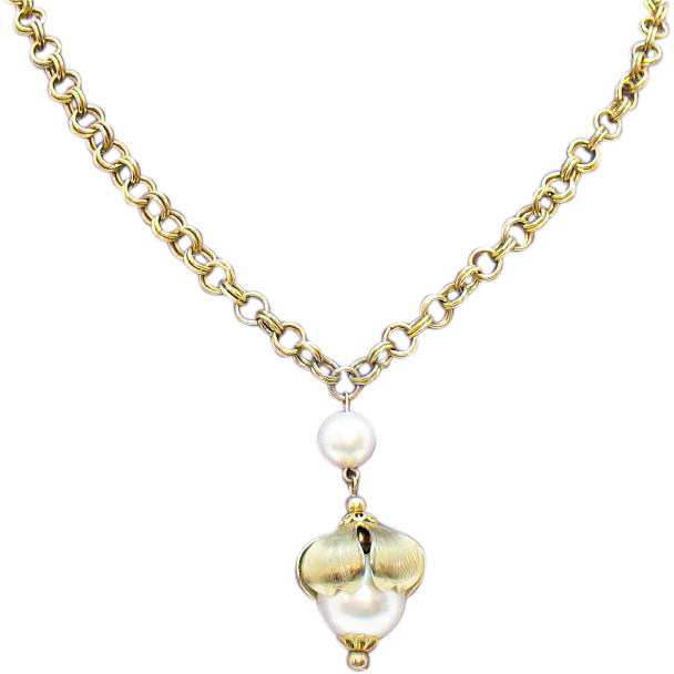 50% Off Unusual Vintage Large Faux Pearl Pendant Necklace