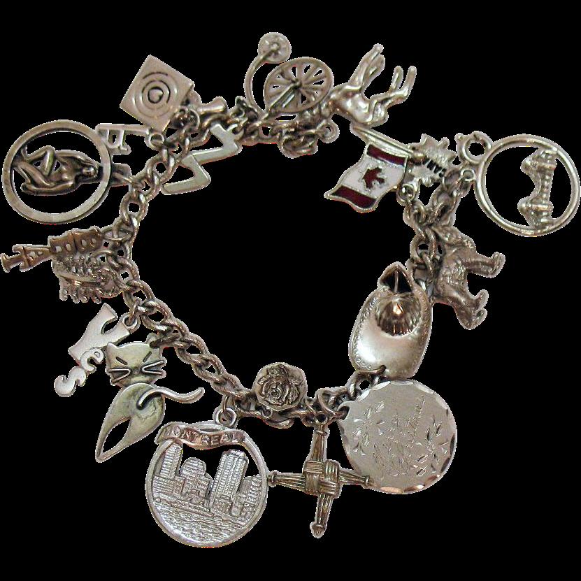 50 vintage sterling silver charm bracelet 18 charms