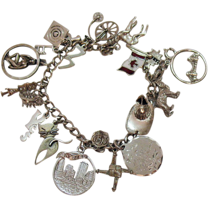 50% Off Vintage Sterling Silver Charm Bracelet 18 Charms 41.7 Grams