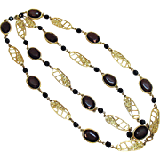 Awesome Vintage 40 Inch Long Collet Set Brown Faceted Glass Necklace