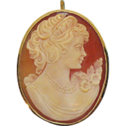 Stunning Antique Hand Carved 14K Gold Italian Shell Cameo Brooch Pendant Convertible