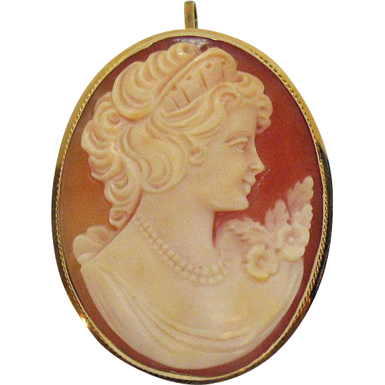 Stunning Antique Hand Carved 14k Gold Italian Shell Cameo Brooch Appletree Junction Antiques Ruby Lane