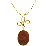 Gorgeous Vintage Goldstone Lariat Style Necklace