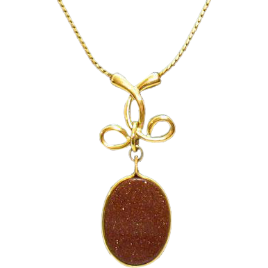 50% Off Gorgeous Vintage Goldstone Lariat Style Necklace
