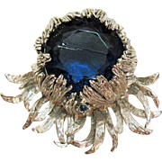 Magnificent Signed Alice Caviness Vintage Sapphire Blue Brooch~A.C. Co