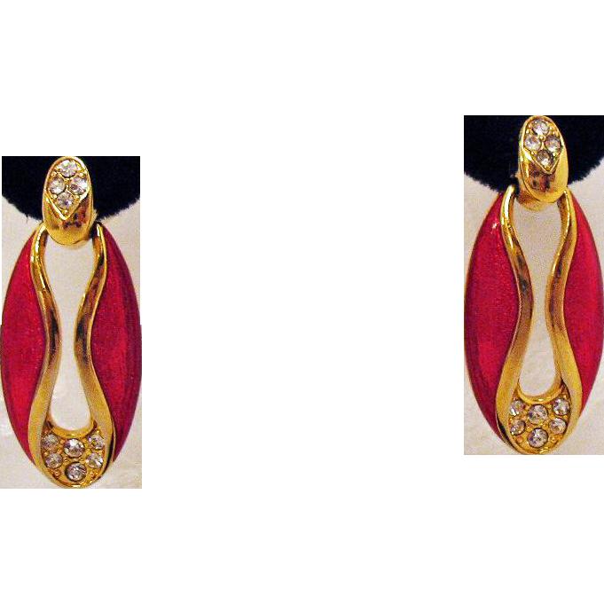 Vintage Pierced Earrings Red Enameled Rhinestone Door Knocker