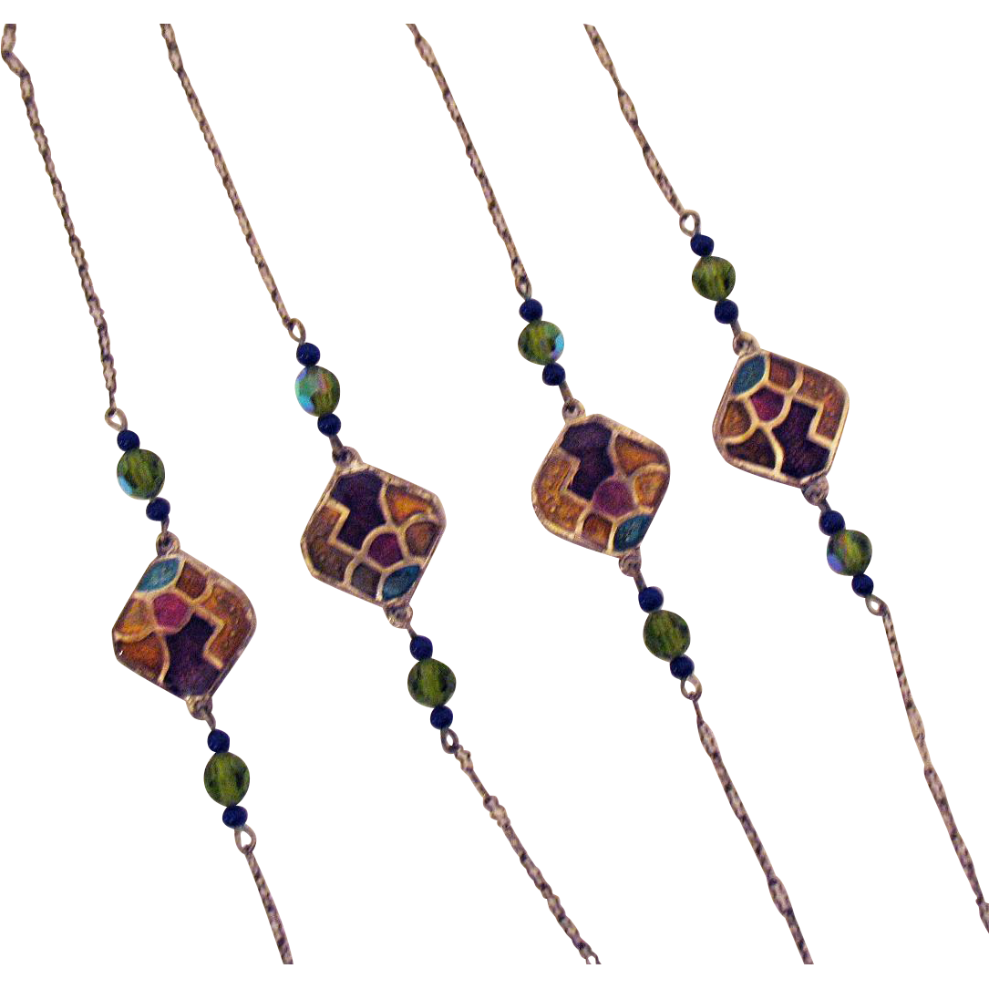 Vintage Stained Glass Paper Clip Chain Necklace