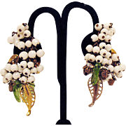 Vintage Original by Robert Crescent Shape Beaded Dangle Clip Earrings
