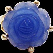 Gorgeous Vintage Sterling Silver Ring Rose Carved Lavender Jade
