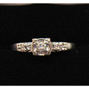 Unusual Find Vintage 14K White Gold Lady America Diamond Ring #990