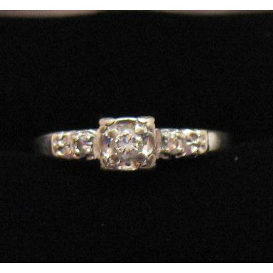 50% Off Unusual Find Vintage 14K White Gold Lady America Diamond Ring #990