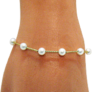 Vintage Honora 14K Gold Freshwater Pearl Bracelet