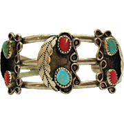 Vintage Native American Indian Sterling Cuff Bracelet Turquoise Coral