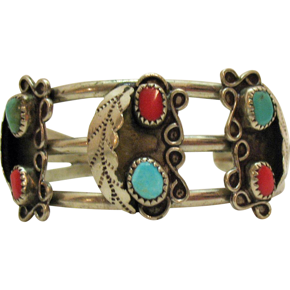 50% Off Vintage Native American Indian Sterling Cuff Bracelet Turquoise Coral