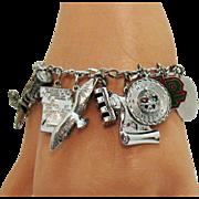 Awesome Vintage Signed Carl Art Sterling Silver Charm Bracelet~34.8 Grams!
