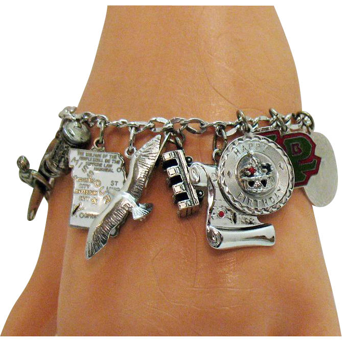 Awesome Vintage Signed Carl Art Sterling Silver Charm Bracelet~37.7 Grams!