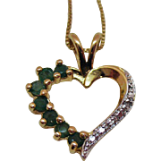 Beautiful Vintage Gold over Sterling Silver Emerald Heart Pendant Necklace~Italy