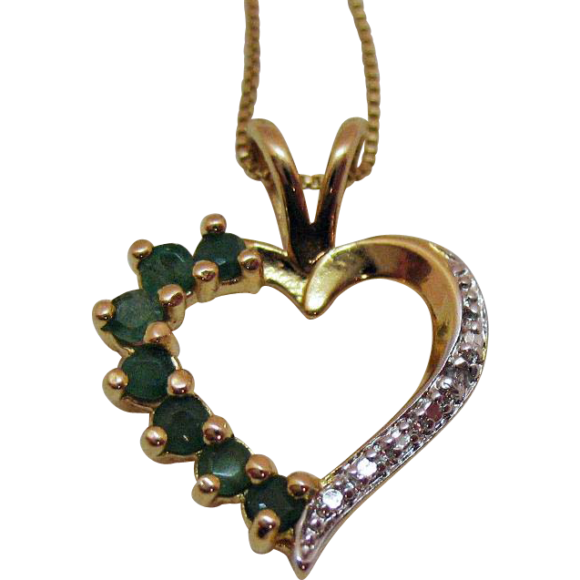 Beautiful Vintage Gold over Sterling Silver Emerald Heart Pendant Necklace Italy