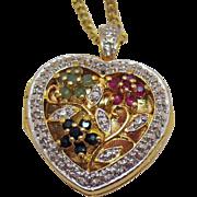 Gorgeous Vintage Sterling Silver Gold Vermeil Gemstone Heart Locket Necklace