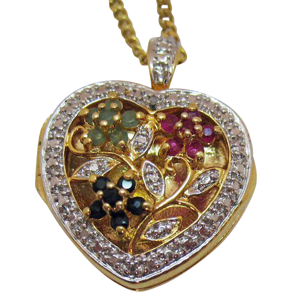 Gorgeous Vintage Sterling Silver Gold Vermeil Gemstone Heart Locket Necklace