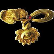 Elaborate Antique Art Nouveau Ruby Cab 14K Gold Pin/Brooch